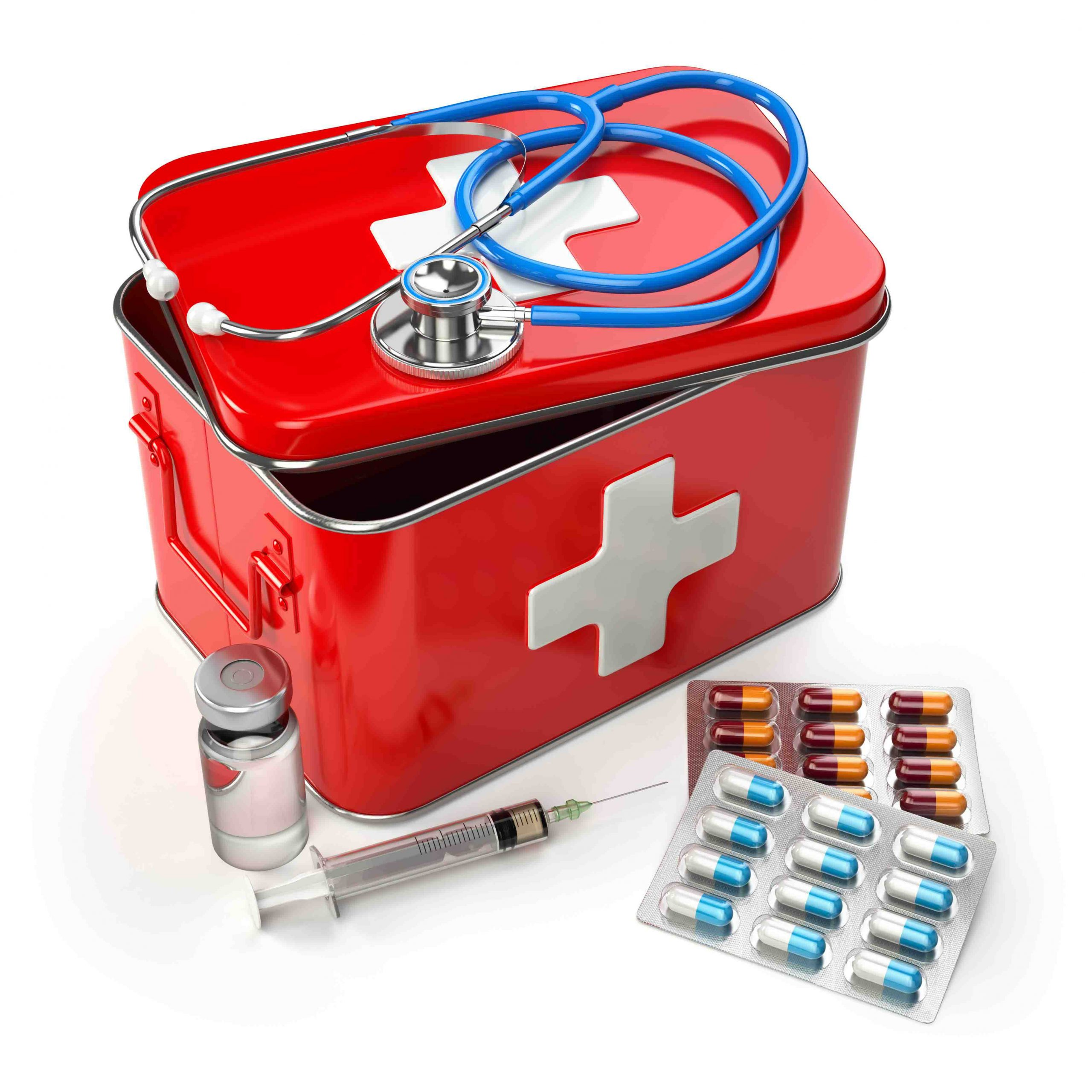 first-aid-kit-with-stethoscope-pills-and-syringe